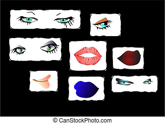 eyes and lips - set of lips and eyes in vector