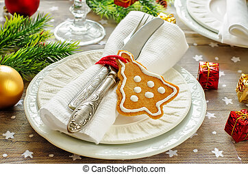 Christmas table setting. Holiday Decorations with cookies....