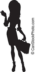silhouette of business woman - silhouette o f business woman...