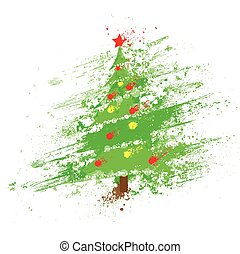 christmas decorated tree abstract ink splash paint isolated...