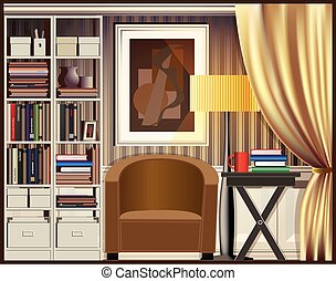 room with shelves - Vector illustration on the theme of...