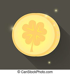 St Patrick Day gold coin icon - Illustration of St Patrick...
