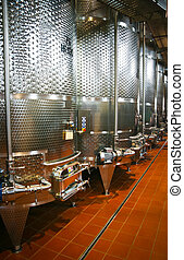 Fermentation vats in a winery in Friuli, Italy