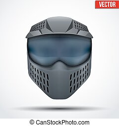 Black paintball mask with goggles. Original design. Vector...