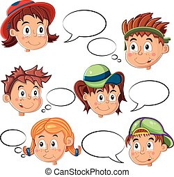 Children's Faces with Speech Bubbles Vector
