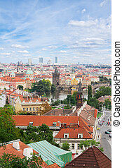 Prague from above - cityscaspe of Prague from above with...