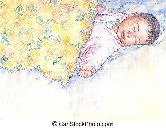 baby - graphic illustration of a sleeping baby
