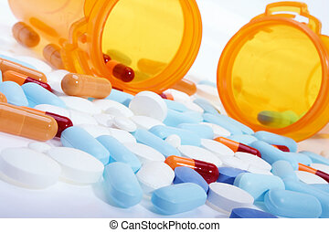 Prescription drugs - Stock image of pills, capsules and...
