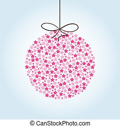 Pink Christmas ball on a blue background