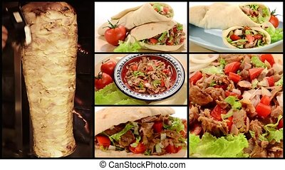 doner kebab collage - fast food, doner kebab collage
