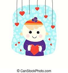 Valentine boy with heart