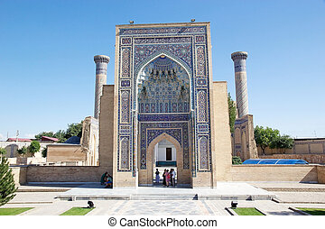 Samarkand - Tourists are getting in the Amir Temur...
