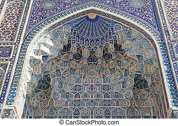 Samarkand - Architecture details of the portal at the Amir...