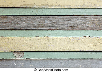a Planks with peeling old paint