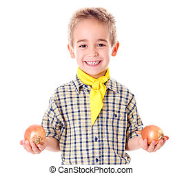 Little agriculturist holding onions - Happy little...