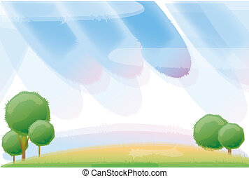 tree and sky - beautiful scenery,illustration drawing of...