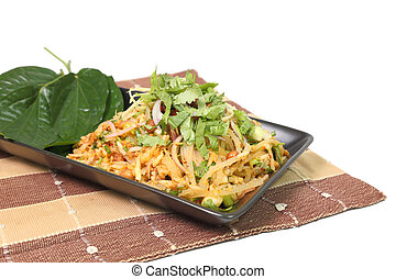 Spicy Pork Fried Rice on napery isolated on white background...