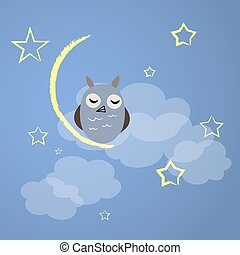 Night owl with yellow moon and stars