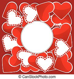 Pattern with white and red hearts