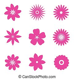 set of pink flowers