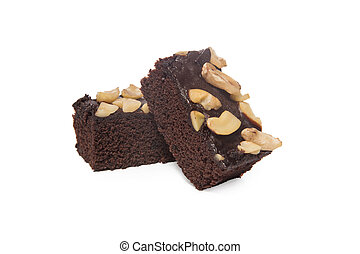 brownies isolated on white background - brownies and cashew...