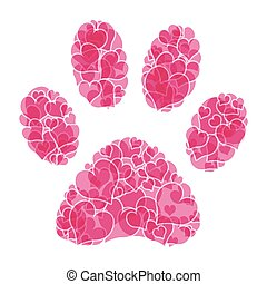 Paw print - Illustration of heart paw print on a white...