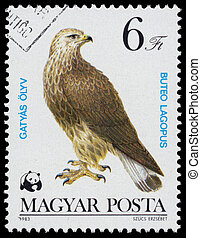 Stamp printed in Hungary shows quot;Bird of preyquot; -...