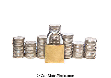 Safe money. Coins and padlocks isolated on a white...