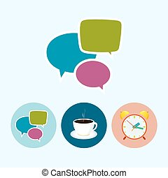 Set icons with   speech bubble , cup of tea ,alarm clock, cup of coffee, vector illustration