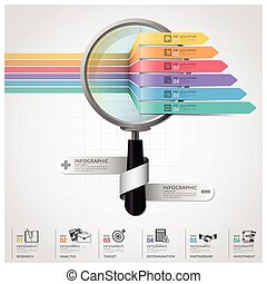 Global Business And Financial Infographic With Magnifying Glass Arrow Diagram
