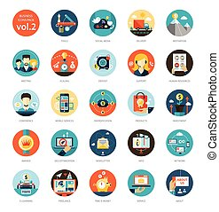 Set of modern flat design business infographics icons - Set...