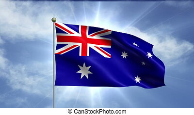 AUSTRALIAN FLAG - An Australian flag flying and flapping in...