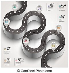 Road And Street Traffic Sign Curve Step Business Infographic...