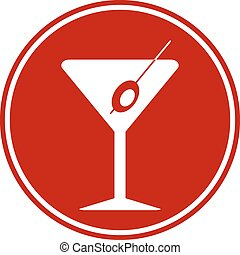 Martini glass button on white background. Vector...