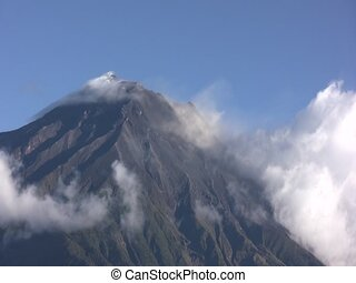 Tunguragua Volcano - Timelapse of clouds blowing past the...