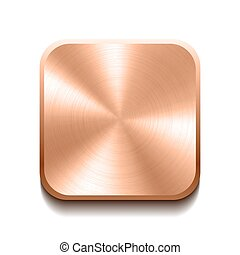 Realistic bronze button with circular processing. Vector...