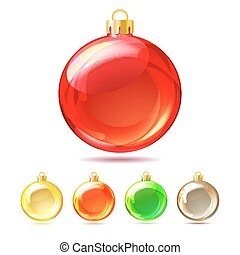 Set of Glossy Christmas balls on white background.