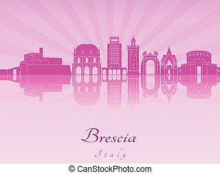 Brescia skyline in purple radiant orchid in editable vector...