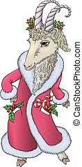 Goat in Santa coat. Contains transparent objects. EPS10