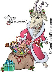 Goat wishes Merry Christmas. Contains transparent objects....