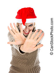Girl in Santa hat showing hands stop Isolated on a white...