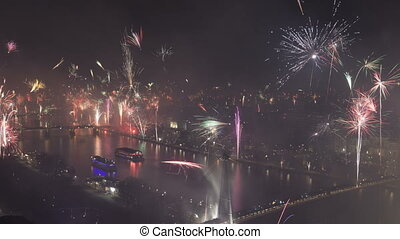 Time lapse zoom out grand firework aerial over Frankfurt and...