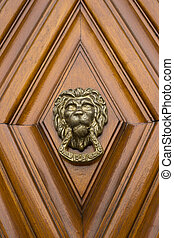 Lion Head Door Knocker on a wooden door