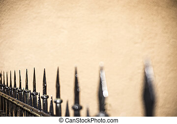 Spike iron fence - A wrought-iron fence with wall behind.