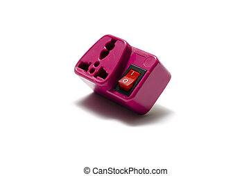 pink adapter plug on a white background