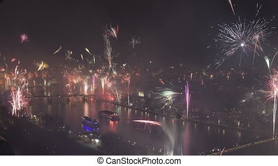Time lapse pan and tilt shot grand firework aerial over...