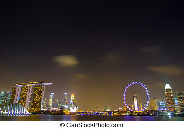 Singapore Night City With Crowded Buildings