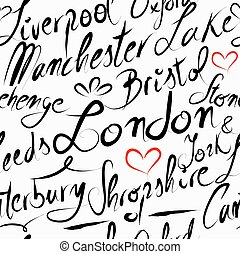 Travel England destination seamless pattern background -...