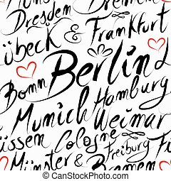 Travel Germany destination city seamless pattern - Travel...