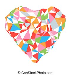 Bright heart in colored on white background geometric